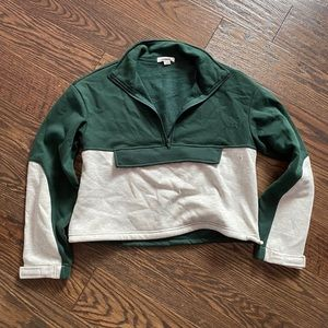Green and off white quarter zip